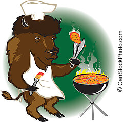 Bison Grill Chef - A buffalo barbecue chef grilling hot...