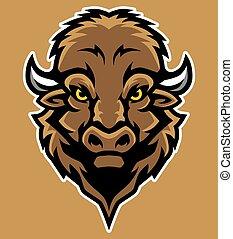 Bison Head Mascot Illustration in Cartoon Style