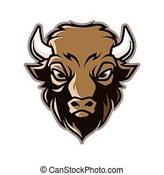 Bison Head Mascot Illustration Vector in Cartoon Style