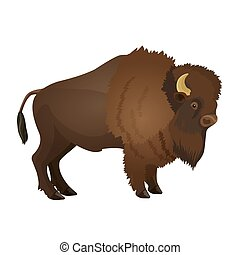 Bison large even-toed ungulate realistic vector illustration...