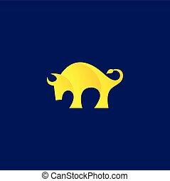 Bison logo design, bull vector logo