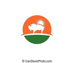 Bison logo icon vector template illustration