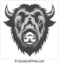 Bison mascot head. Black and white.