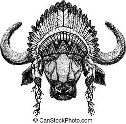 Bison, ox, buffalo. Wild animal wearing inidan headdress...