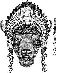 Bison, ox, buffalo. Zoo. Wild animal wearing inidan...