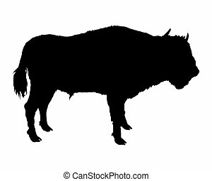Bison shown in form of a black silhouette