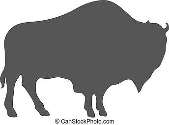 bison, vecteur, silhouette, isolé, white.