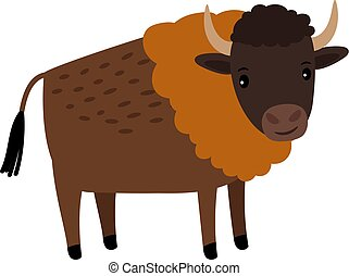 Bison wild animal cartoon icon