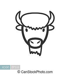 bisonte, testa, icon., vettore, bue, bufalo, animale