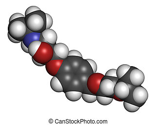 Bisoprolol beta blocker drug, chemical structure. Used to...