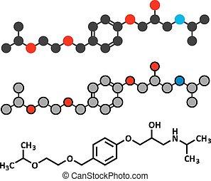 Bisoprolol beta blocker drug molecule. Used to treat high...