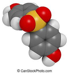 Bisphenol S (BPS) plasticizer molecule. Used as curing agent in