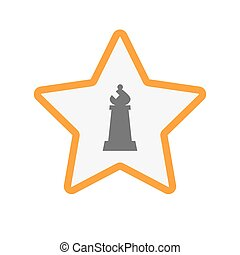 bisschop, ster, vrijstaand, figuur, schaakspel