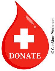 bistånd, droppe, donera, första, blod