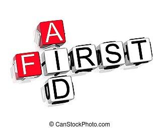 bistånd, första, korsord