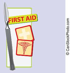 bistånd, första, skalpell