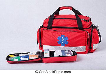 bistånd, första, utrustning