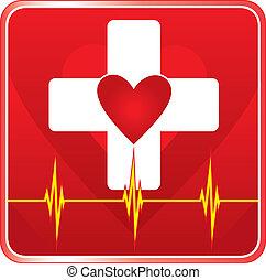 bistånd, läkar hälsa, symbol, första