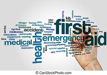 bistånd, ord, moln, första