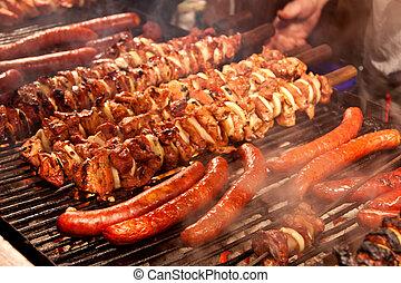 bistecca, barbeque., altro, carne, fondo