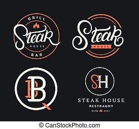 bistecca, casa, set, logos