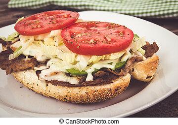 bistecca, panino sub