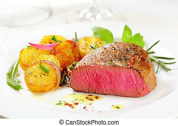 bistecca, raro, delizioso, filetto