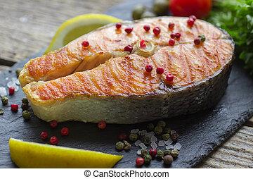 bistecca salmone, cotto ferri