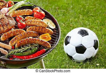 bistecca, salsicce, cuocere, veggies, barbecue