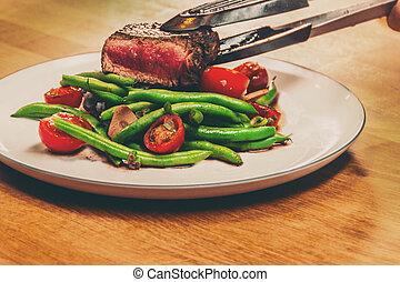 bistecca, servito, a, cena
