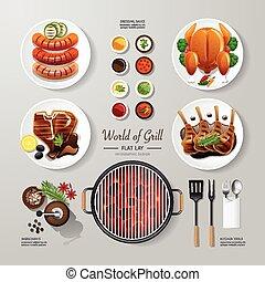 bistecca, usato, arrosto, web, disposizione, concept., vettore, appartamento, pubblicità, design., essere, lattina, disposizione, idea., cibo, bbq, illustrazione, griglia, infographic, hipster
