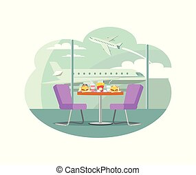 bistro, aeroporto, alimento, servido, tabela, café