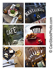 Bistro and French restaurants on a collage