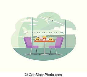 bistro, café, en, aeropuerto, tabla, con, servido, alimento