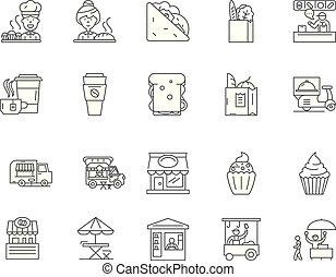 bistro, concept, schets, set, iconen, illustratie, vector, lijn, tekens & borden