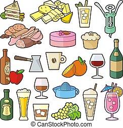 bistro, ensemble, menu, icône