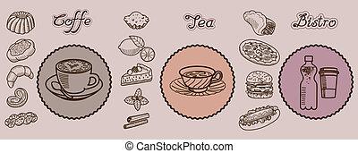 bistro, icone, tè, coffe, mano, vettore, disegnato