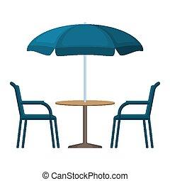 bistro, mesa redonda, con, paraguas abierto, tienda, y, dos, sillas