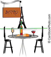 bistro - outdoor cafe in Paris with tower in background