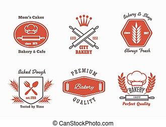 bistro, panadería, café, conjunto, logotipo