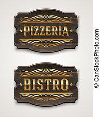 bistro, pizzeria, signboard