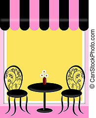 Bistro Restaurant with Awning Table Chairs Outside Seating Illustration