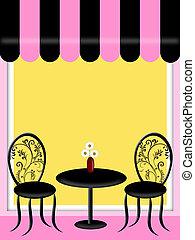 bistro, restaurante, con, toldo, tabla, y, sillas