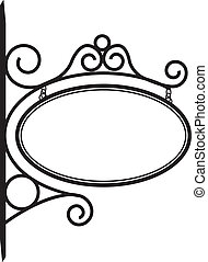Hanging Bistro sign decorated with metal scrollwork