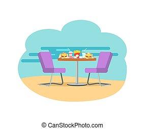 bistro, soda, hambúrgueres, tabela, servido, café