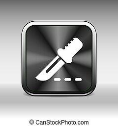 bisturi, quadrato, nero, internet, button., icona