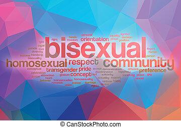 biszexuális, elvont, szó, felhő, háttér
