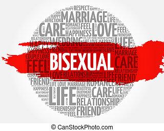 biszexuális, karika, szó, felhő