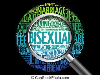 biszexuális, szó, magasztalás, felhő, pohár
