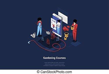 bitófák, isometric, emberek, havibaj, ábra, őrzés, kertészkedés, otthon, vektor, concept., mód, palántázás, zenemű, felolvasás, karikatúra, 3, vagy, konzultáció, smartphone, ellenző, menstruáció